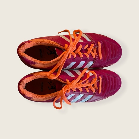 Adidas cleats pink and orange size 7